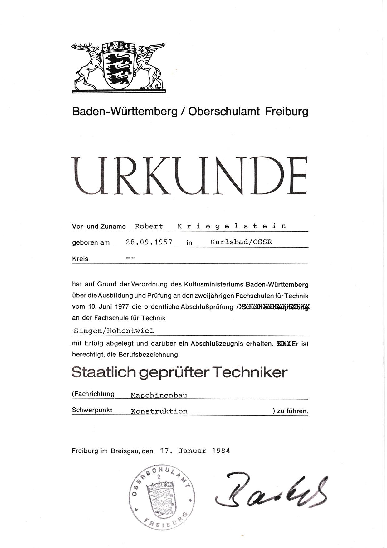RK - Urkunde